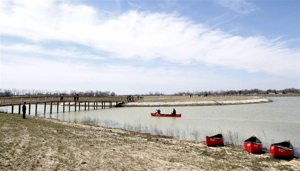 Canoe's at Howard Marsh Metropark.