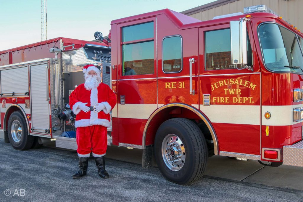 Santa and Fire Truck