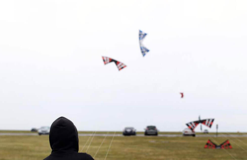 Boy flying kite at Maumee Bay